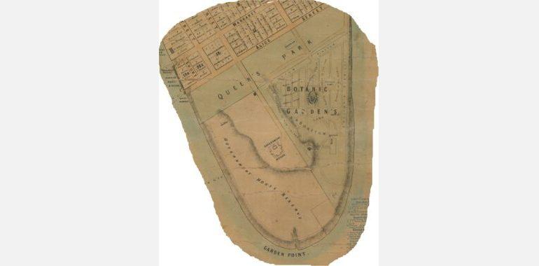 Garden point section of Ham's Map of Brisbane 1863 SLQ IE423951_FL425131